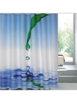 Bright Color Vivid 3D Green Leaf Droplets Shower Curtain