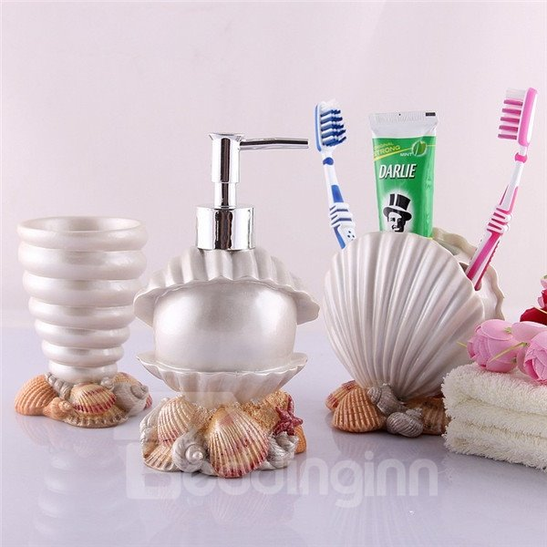 Glorious Mediterranean Style Sea Shell Pearl Bath Ensembles