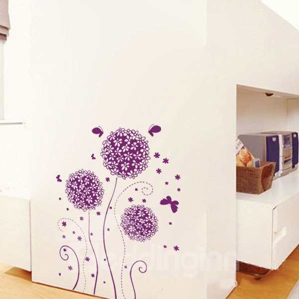 Fantastic Purple Flower Ball and Butterfly Removable Wall Sticker