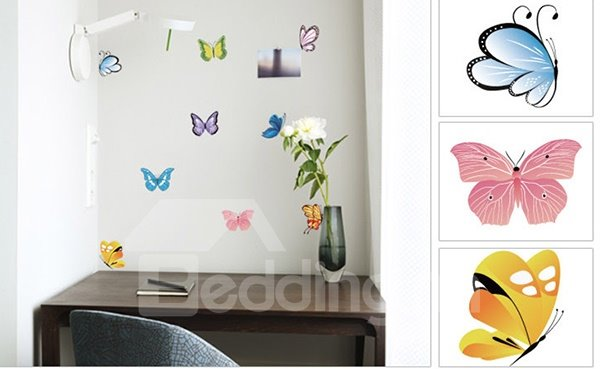 Gorgeous 9-Piece Colorful Butterfly Removable Wall Sticker