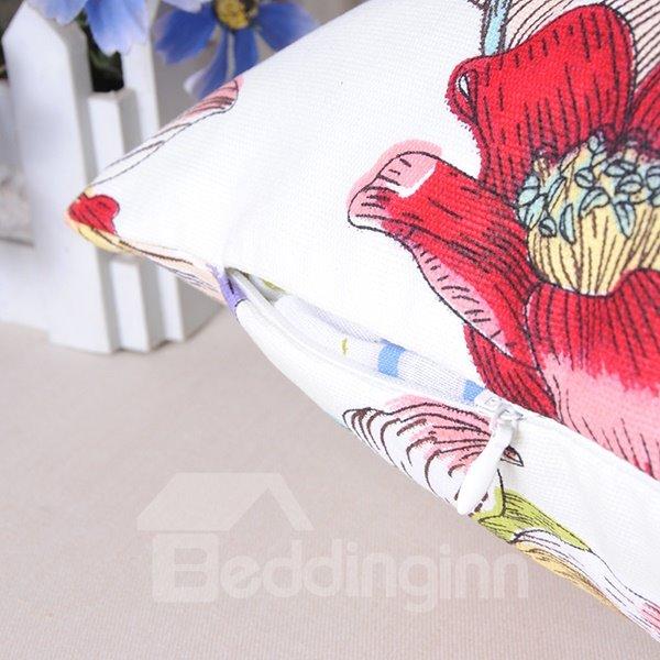 Pastoral Birds Flowers Printing Cozy Cotton Throw Pillowcase