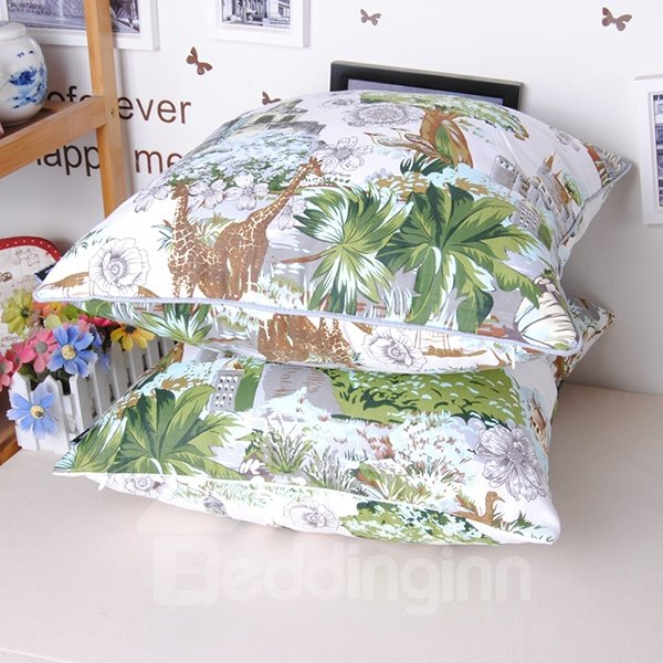 European Castle Pine Print Cotton Throw Pillowcase