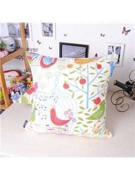 Graceful Rural Style Birds Tree Printing Throw Pillowcase