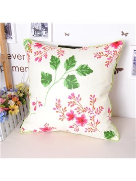 Romantic Graceful Pastoral Sakura Printing Cotton Throw Pillowcase
