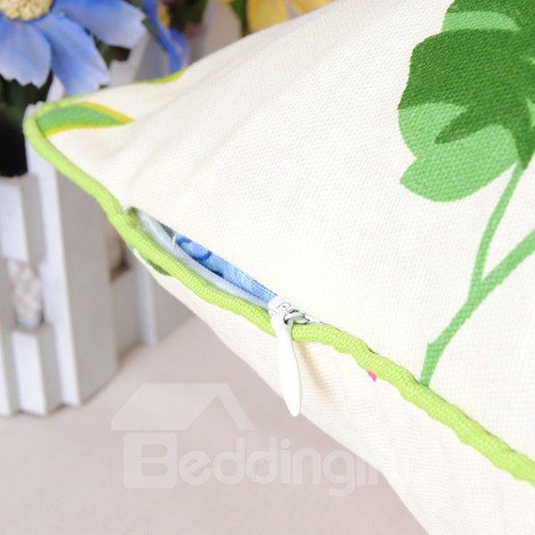 Romantic Graceful Pastoral Sakura Printing Cotton Throw Pillowcase