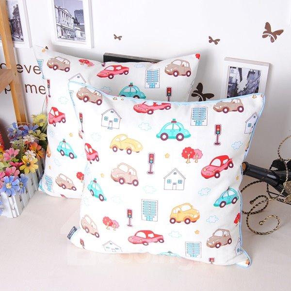 Cute Colorful Cats Printing White Throw Pillowcase
