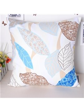 Refreshed Simple Leaves Printing Cotton Throw Pillowcase