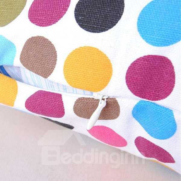 Faddish Polychromatic Polka Dot Printing Comfortable Cotton Throw Pillowcase