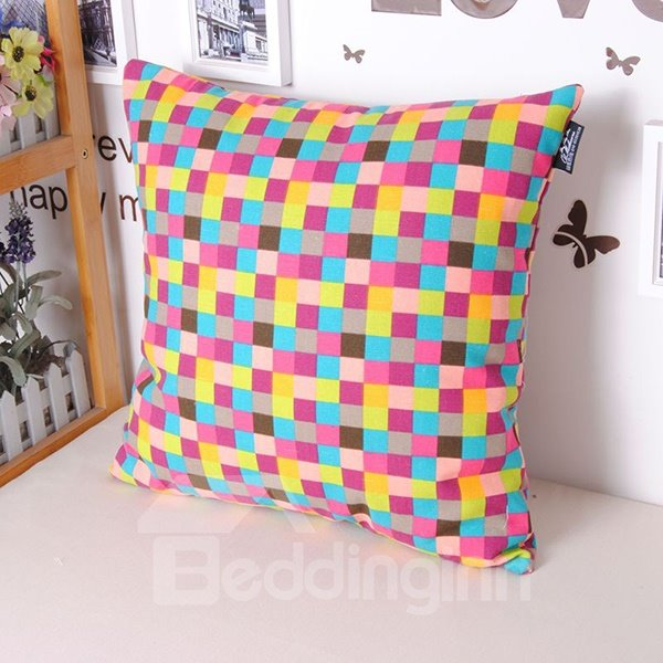 Chic Polychrome Plaid Style Cotton Throw Pillowcase