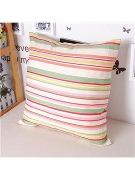 Polychromatic Stripe Concise Design Soft Cotton Throw Pillowcase