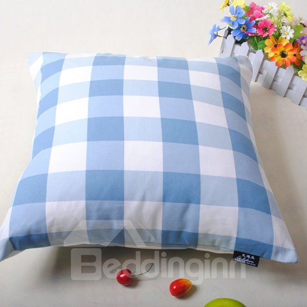 Elegant Blue White Checks Super Cozy Throw Pillowcase
