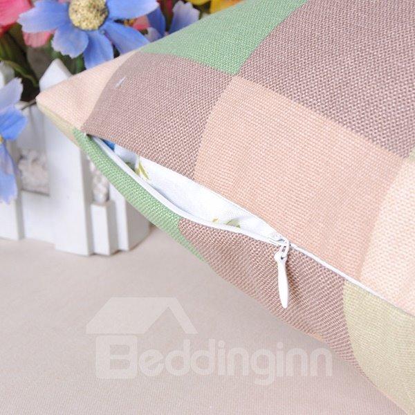 High Quality Modern Plaid Design Cotton Throw Pillowcase