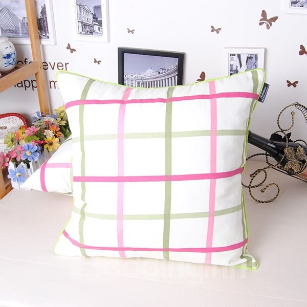 Contracted Modern Style Adorable Plaid Cotton Throw Pillowcase
