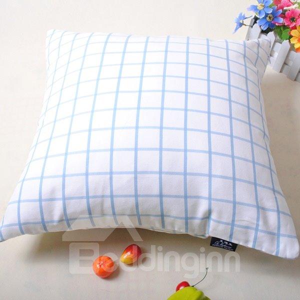 Simple Exquisite Plaid Design White Throw Pillowcase