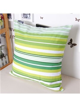 Graceful Green Stripe Throw Pillowcase with Cotton Material
