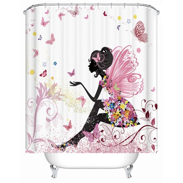 3D Butterfly Girl Printed Polyester Bathroom Shower Curtain