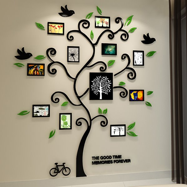 11 photo frame tree country style acrylic waterproof self adhesive 3d wall stickers. Black Bedroom Furniture Sets. Home Design Ideas