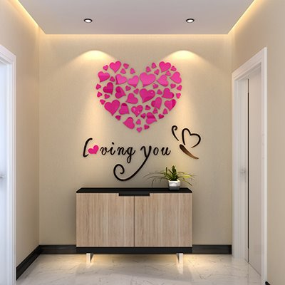 Heart Shape and Loving You Mirror Acrylic 3D Wall Sticker