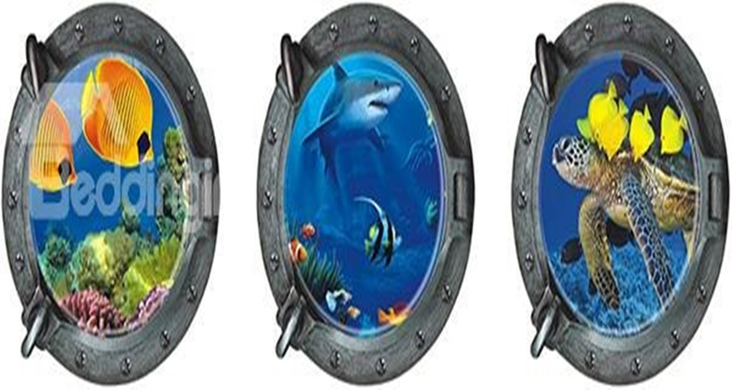 Natural Style Fishes Dolphins and Turtles Round 3-Piece 3D Blue Waterproof Wall Sticker