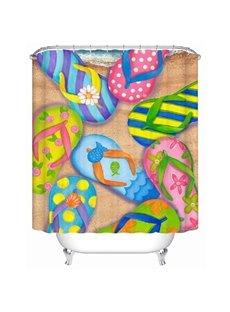 Unique Colorful Beach Sandal Print Shower Curtain