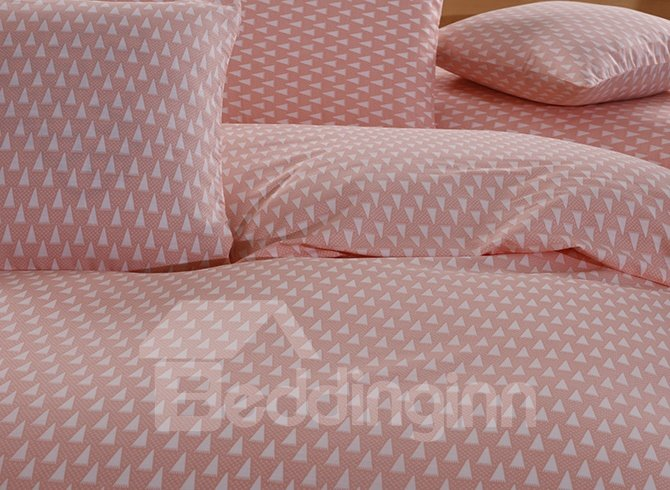 Concise Triangle Printing Pink 4-Piece Duvet Cover Sets