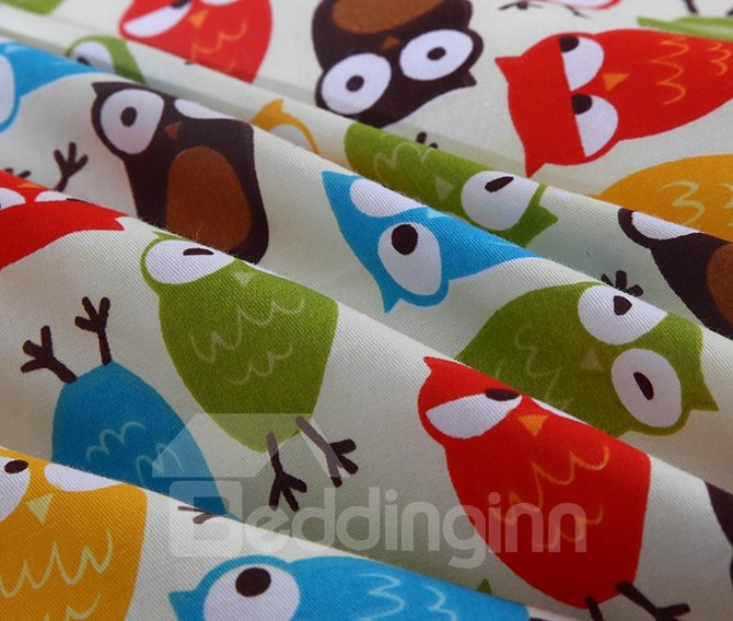 Lovely Owls Pattern 100% Cotton 4-Piece Duvet Cover Sets