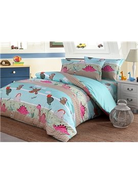 Bright Lovely Dinosaur Pattern Organic Cotton 4-Piece Duvet Cover Sets