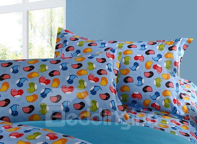 Bright Colorful Birds Pattern Cotton 4-Piece Duvet Cover Sets