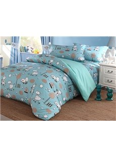 Lovely Pony Pattern 100% Cotton 4-Piece Duvet Cover Sets