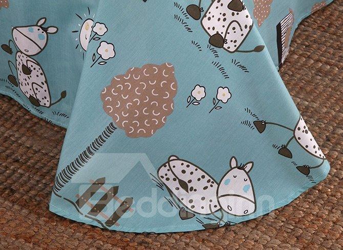 Lovely Pony Pattern 100% Cotton 4-Piece Duvet Cover Sets