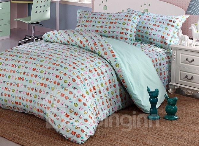 Super Lovely Animal Faces Pattern Cotton 4-Piece Duvet Cover Sets