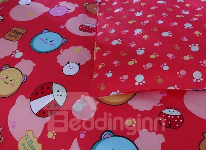 Cute Bear and Ladybird Pattern 4-Piece Cotton Duvet Cover Sets