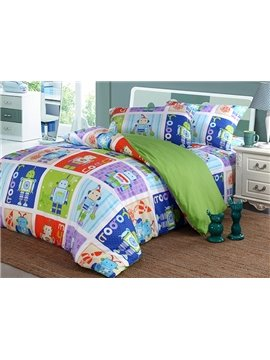 Cool Robot Pattern 4-Piece 100% Cotton Duvet Cover Sets