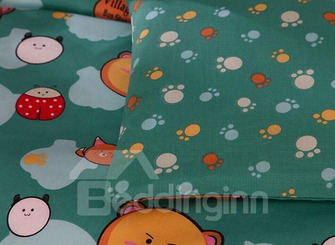 Lovely Bear Pattern Cotton 4-Piece Duvet Cover Sets