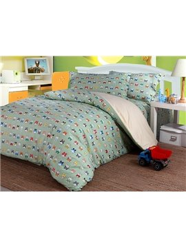 Super Cute Colorful Rabbits 4-Piece Cotton Duvet Cover Sets