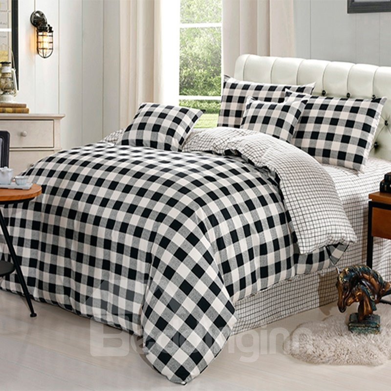 Black And White Plaid Print Cotton 4 Piece Bedding Sets