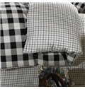 Black and White Plaid Pattern Cotton 4-Piece Bedding Sets/Duvet Cover