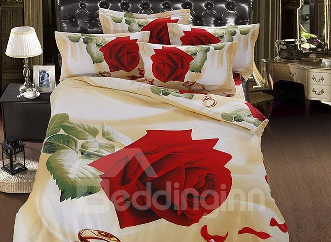 Cuddly Aesthetic Rose with Ring 5-Piece Comforter Sets