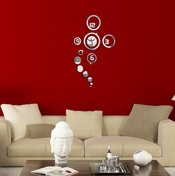 Creative and Simple Original 3D Acrylic Mirror Wall Sticker Wall Clock