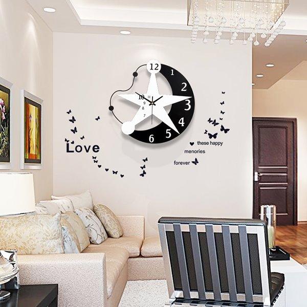 Fantastic Creative Original Star and Moon Mute Wall Clock