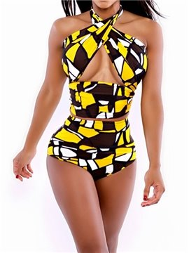 Wonderful Color Block Cross Top Women's Bikini