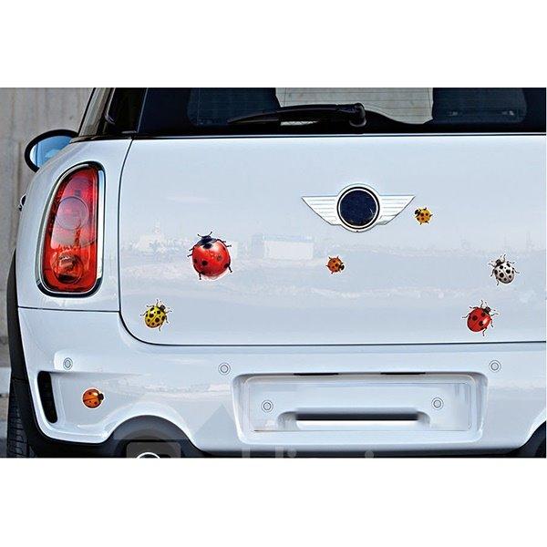 Lively Multi-Color Ladybugs Lifelike Car Stickers