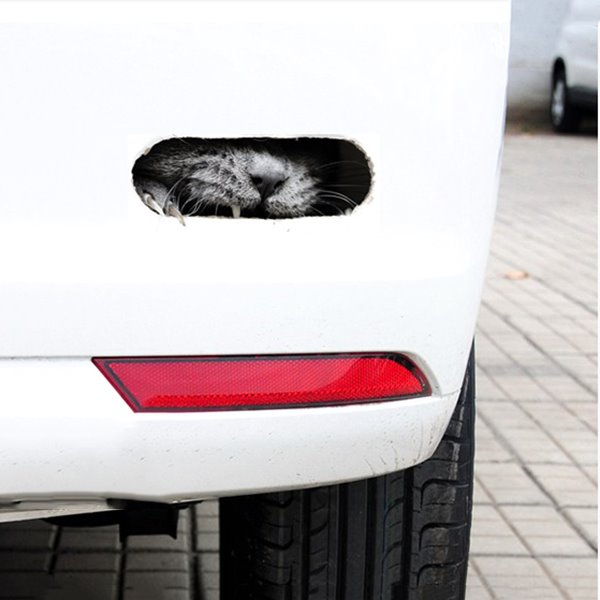 3D Angry Interesting Cat Face Car Stickers