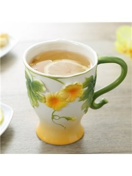 Creative Lovely 3D Floral Ceramic Coffee Mug