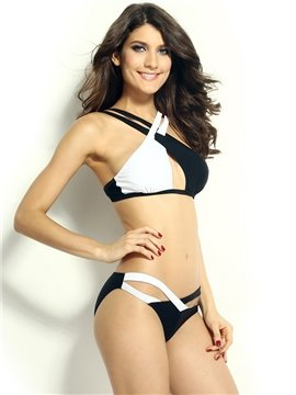 Simple Black and White Strappy Women's Sexy Bikini
