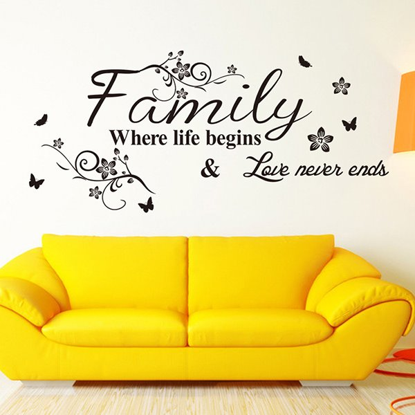 Black Inspiring Words Flowers and Butterflies Wall Sticker