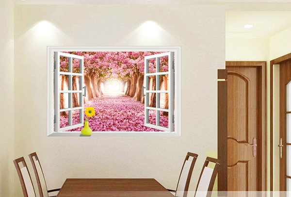 Pink Cherries Path Surrounded by Cherry Trees 3D Window Wall Sticker