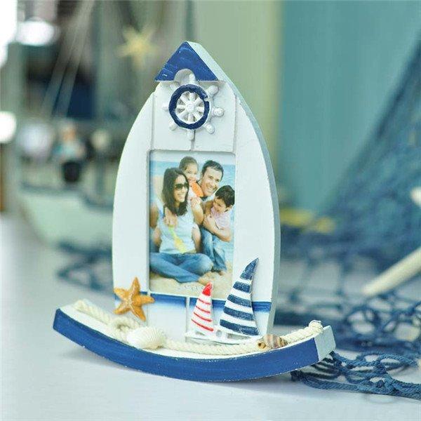 Creative Mediterranean Style Boat Design Wood Desktop Photo Frame