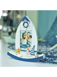 Creative Mediterranean Style Boat Design Wood Desktop Photo Frame