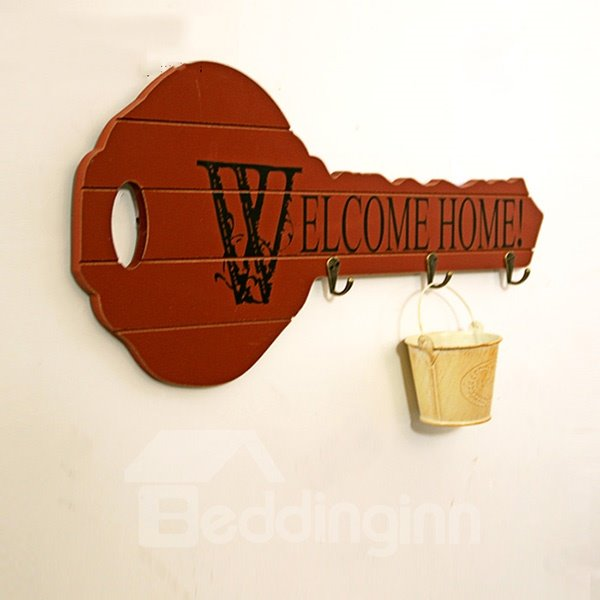 Creative Key-Shaped Welcome Home Key Holder Wall Hook